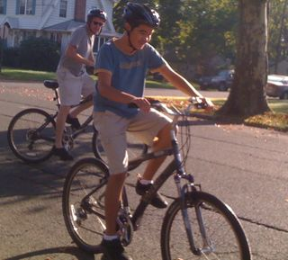 Charlie leading off on a bike ride with Jim