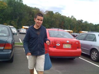 Charlei in the middle school parking lot