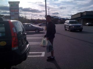 Charlie carrying groceries