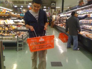 Charlie grocery shopping on Tuesday afternoon (and not at the model grocery store at the big autism center)