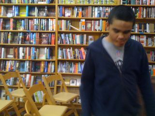 Charlie at Words bookstore in Maplewood, NJ
