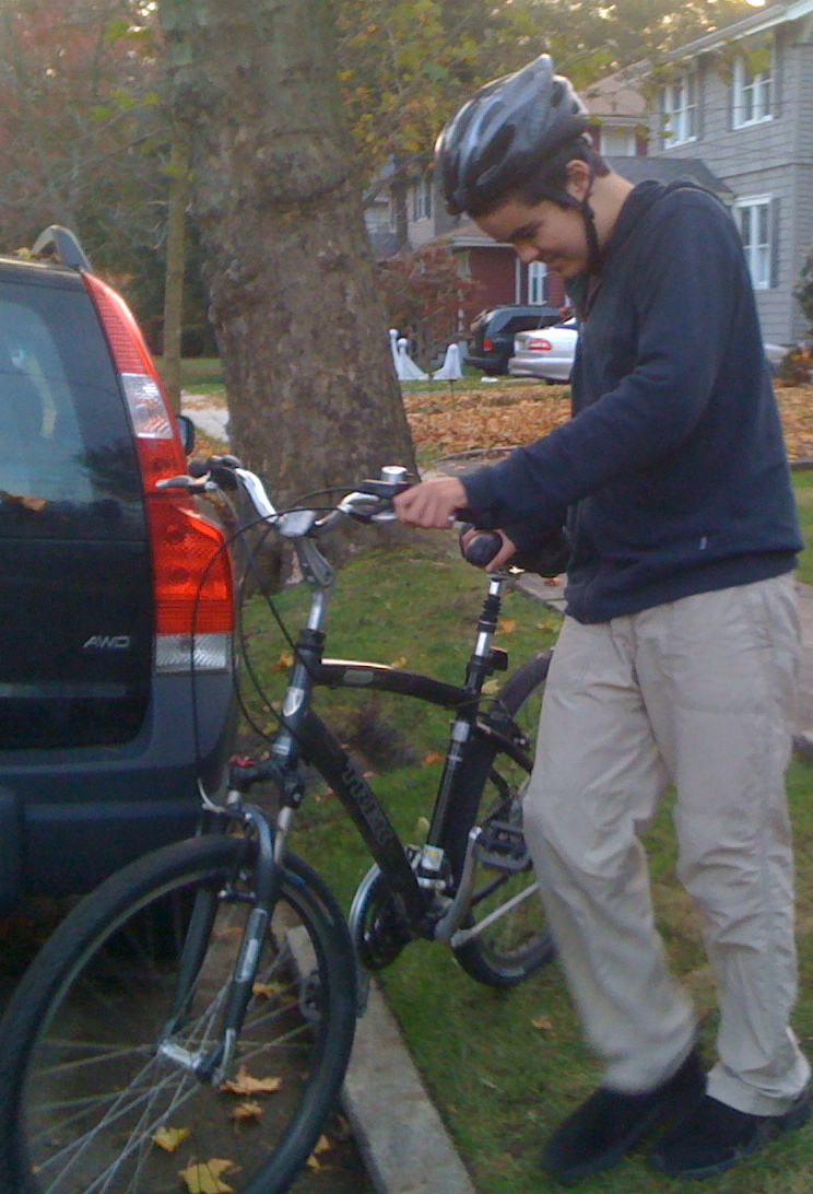 Charlie preparing to go on an early evening bike ride