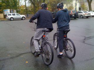 Two guys on bikes