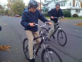 Charlie and Jim about to go for an early November bike ride