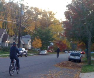Charlie and Jim on an autumn bike ride