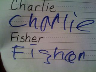 "Charlie writes his name, quite boldly (and that ""s"" looks an awful lot to me like a Greek ""xi"")"