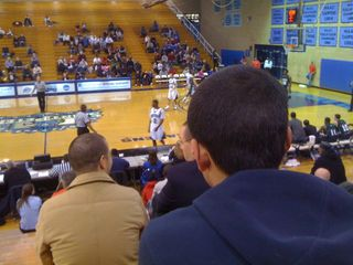 Charlie watching the Saint Peter's College Peacocks play the Wagner College Seahawks in Jersey City
