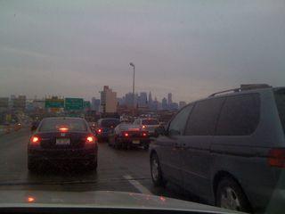 Holiday traffic crossing Staten Island