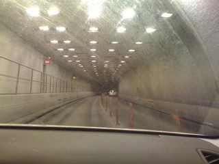 In the Brooklyn-Battery Tunnel (with an ambulance following us---no siren on, fortunately, can't go into the other lane)
