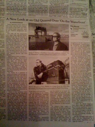 "Jim in the New York Times 7 January 2010, ""A New Look at an Old Quarrel Over 'On the Waterfront'"""