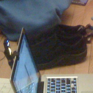 Charlie's shoes and coat and my laptop