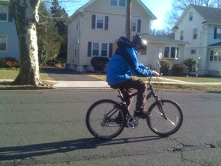 Charlie riding his bike on a warmish January day