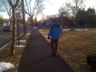 Charlie walking the long route on a Thursday afternoon in February