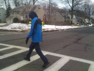 Charlie crosses the street in the crosswalk