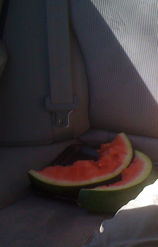 Watermelon on the back seat of the white car