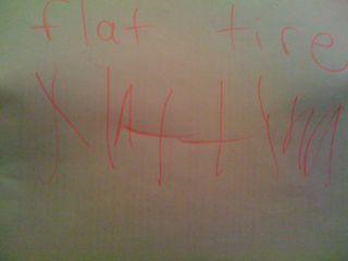 flat tire, written by Charlie