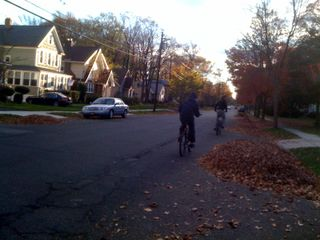 Yet another photo fo Charlie and Jim riding bikes (on a lovely autumn day)