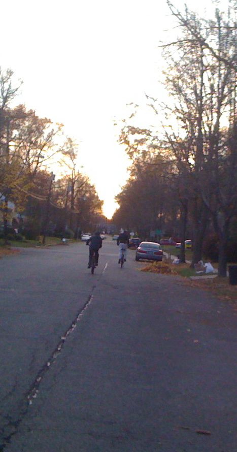 Charlie and Jim ride off for a November afternoon bike ride