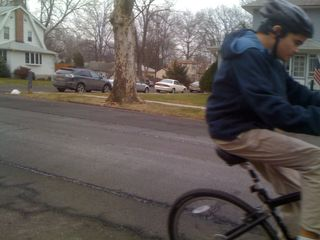 Charlie going on a bike ride on a gray January Sunday
