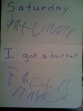 "Charlie writes: ""Saturday / I got a haircut"""