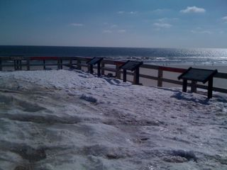Beautiful beach, with snow