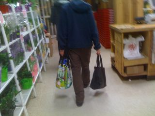 Charlie carries all the groceries