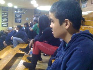 Charlie at a basketball game at the Yanitelli Center (Saint Peter's College vs. Iona College)