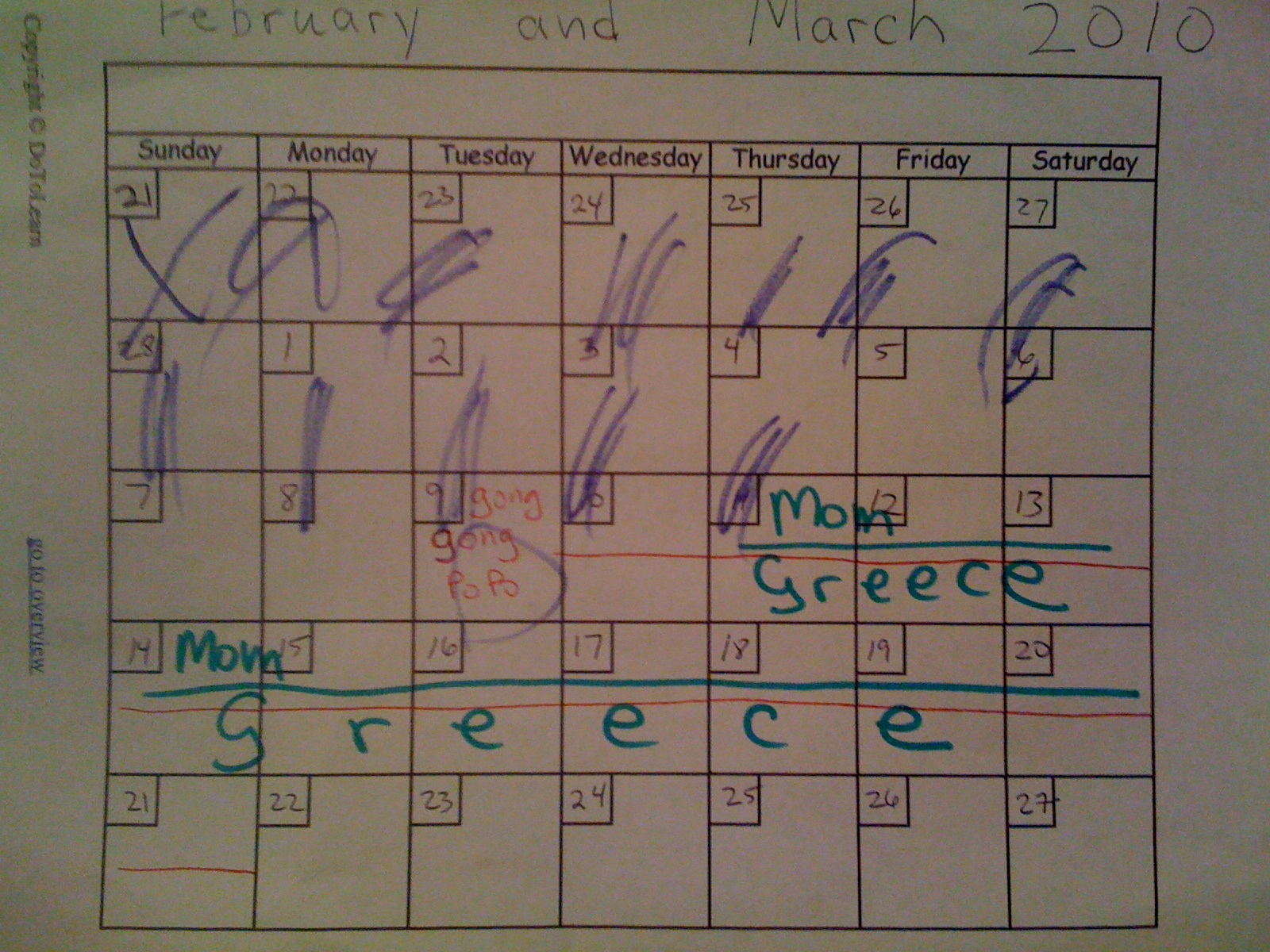 February and March MMX calendar for Charlie
