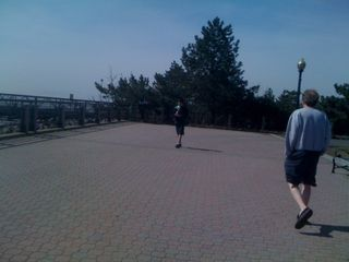 Charlie's walked as far as he can (Ellis Island is east)