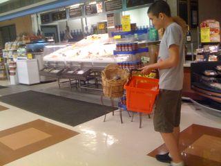 Charlie back at the supermarket