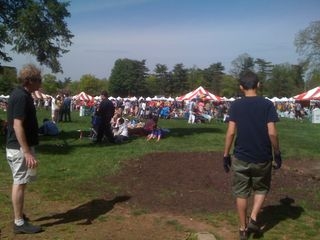 Charlie and Jim walking towards the tents at the New Jersey Folk Festival
