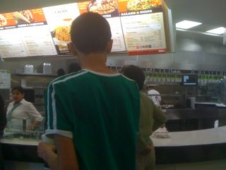 Charlie in line for a burrito
