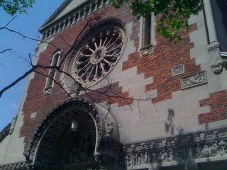The Romanesque façade of Guardian Angels church