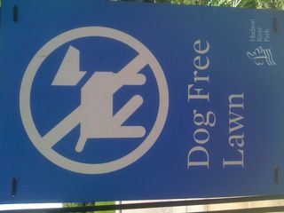 Dog Free Lawn sign from Hudson River Park