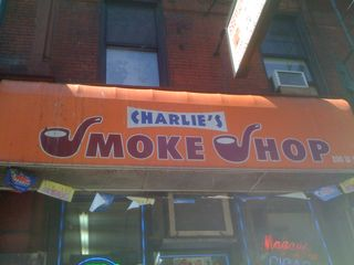 Charlie's Smoke Shop sign in Greenwich Village