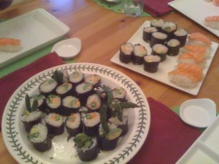 Sushi made by our friend; Charlie's almost empty plate is on the left