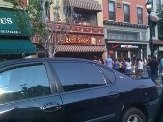 Carlos Bake Shop with a line of people in front