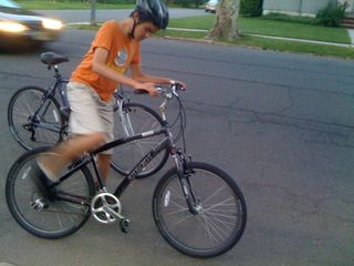 Charlie off for a bike ride on a sultry evening