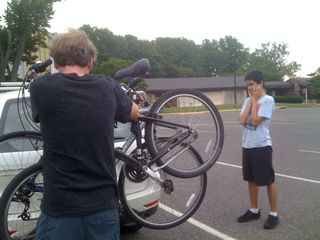 Jim unloading the bikes