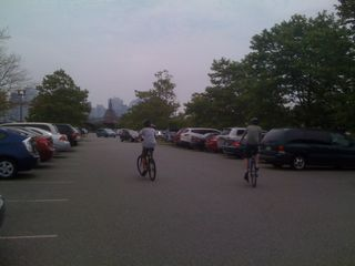 Jim and Charlie off for a ride in Liberty State Park, Jersey City
