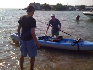 Charlie and Jim preparing to cast of for the inaugural kayak ride of 2010