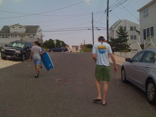 Charlie and Jim walking to the beach in mid July