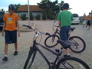 Charlie and Jim at the start of a beach bike ride