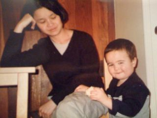 Charlie and me at my parents' house ca. 1999: Little did I know what I'd be called to do for this little guy