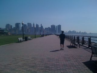 Charlie walking back towards lower Manhattan (which is across the Hudson River)