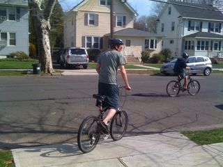 Jim and Charlie go for a bike ride on a really warm April afternoon
