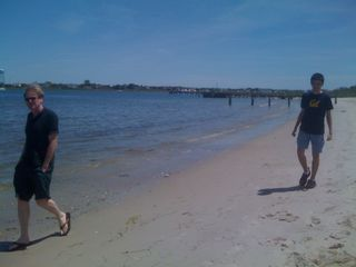 Jim and Charlie walking on the beach on the 16th of May MMX