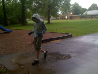 Charlie walking on a cool rainy day in May