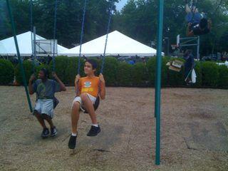 Charlie swinging at his school carnival