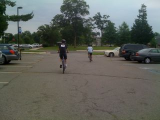 Jim and Charlie bike off at the Ride for Autism